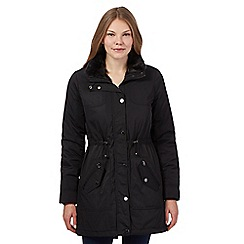 Maine New England - Black quilted faux fur trimmed parka