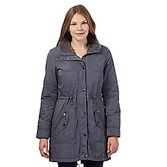 Maine New England - Grey quilted faux fur trimmed parka
