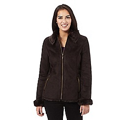 Maine New England - Dark brown faux shearling jacket