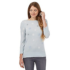 Maine New England - Pale blue cashmere-blend snowflake jumper