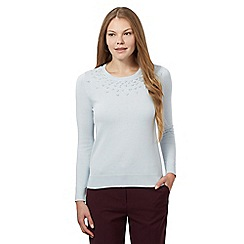 Maine New England - Pale blue knot net neck jumper