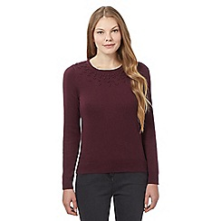 Maine New England - Dark red knot net neck jumper