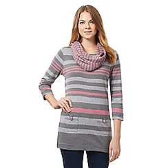 Maine New England - Dark grey striped tunic top with snood