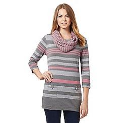 Maine New England - Dark grey striped tunic top with snood