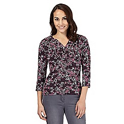 Maine New England - Purple floral print V neck top