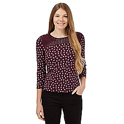 Maine New England - Burgundy floral cut-out yoke top