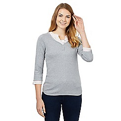 Maine New England - Grey mock grandad top