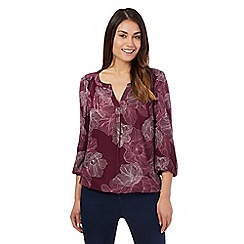 Maine New England - Purple three quarter length sleeve floral top