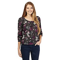 Maine New England - Dark grey floral pleated top