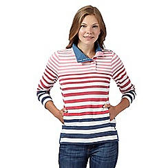 Maine New England - Pink graduated stripe sweatshirt