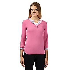 Maine New England - Pink mock shirt layered top