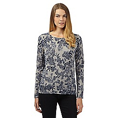 Maine New England - Grey floral ultra soft crew neck jumper