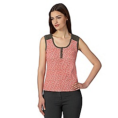 Maine New England - Orange leaf print broderie vest