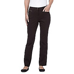 Maine New England - Dark brown two-way stretch trousers