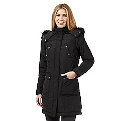 Maine New England - Black faux fur hooded parka jacket