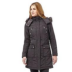 Maine New England - Dark grey faux fur parka jacket