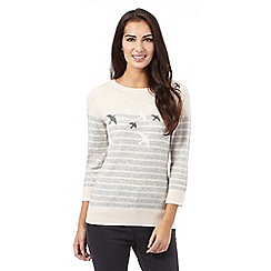 Maine New England - Light grey cashmere blend bird jumper