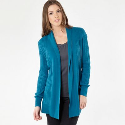 Turquoise Edge To Edge Cable Cardigan