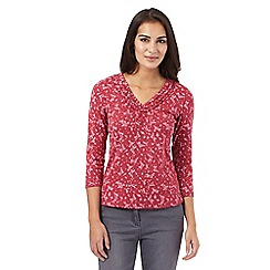 Maine New England - Dark pink floral ruffle top