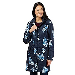 Maine New England - Navy floral print shower resistant parka coat