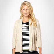 Natural 'edge to edge' cable knit cardigan