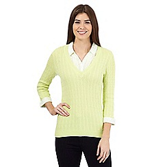 Maine New England - Lime mock floral print shirt cable knit jumper