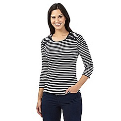 Maine New England - Navy long sleeved striped top