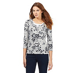 Maine New England - Grey floral print jersey top