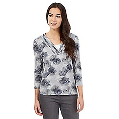 Maine New England - Dark grey floral 2-in-1 top