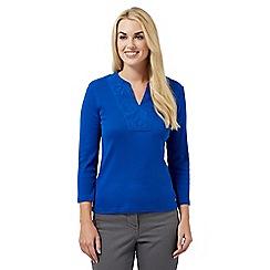 Maine New England - Blue super-soft applique notch neck top