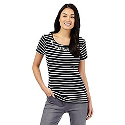 Maine New England - Navy striped jewel embellished neck top