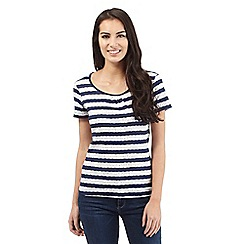 Maine New England - Navy floral striped print top