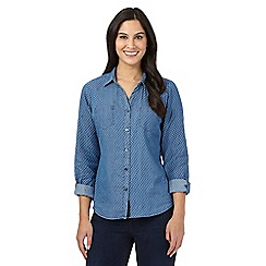 Maine New England - Blue star print denim shirt