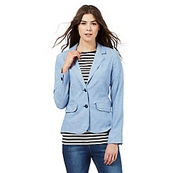 Maine New England - Light blue herringbone textured linen blend blazer