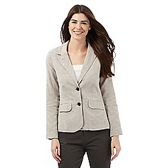 Maine New England - Taupe herringbone textured linen blend blazer