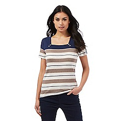 Maine New England - Cream empire neck striped print top