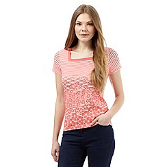 Maine New England - Peach striped floral print top