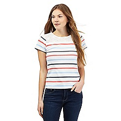 Maine New England - White spotted striped print top