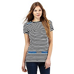 Maine New England - Navy striped print scoop tunic