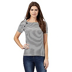 Maine New England - Navy and white striped print top