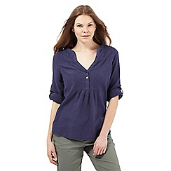 Maine New England - Navy linen blend top