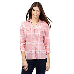 Maine New England - Peach checked print shirt