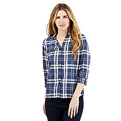 Maine New England - Light blue checked print shirt