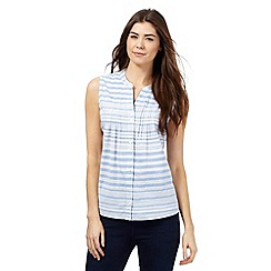 Maine New England - Light blue stripe print sleeveless top