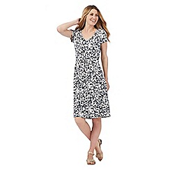 Maine New England - Navy floral fit and flare jersey dress