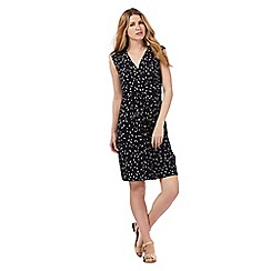 Maine New England - Navy fan print jersey wrap dress