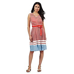 Maine New England - Coral and white striped dress