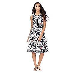 Maine New England - White and navy floral print notch neck dress