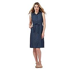 Maine New England - Blue polka dot chambray shirt dress