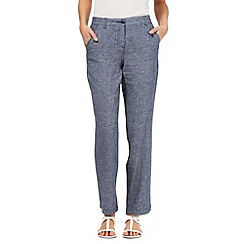 Maine New England - Navy herringbone linen blend trousers
